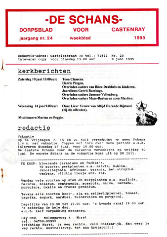 Castenrays dorpsblad De Schans 1995-06-09