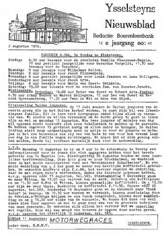 Ysselsteyns Nieuwsblad 1974-08-02