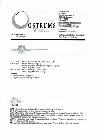 Oostrum's Weekblad 2009-06-18