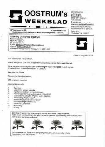 Oostrum's Weekblad 2003-09-04