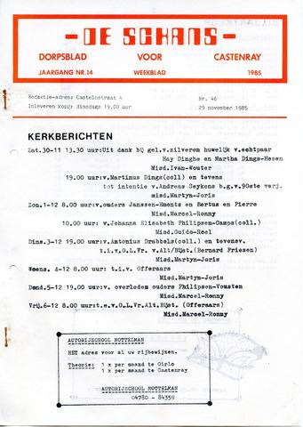 Castenrays dorpsblad De Schans 1985-11-29