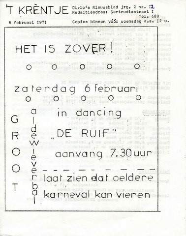 Oirlo's dorpsblad 't Krèntje 1971-02-05