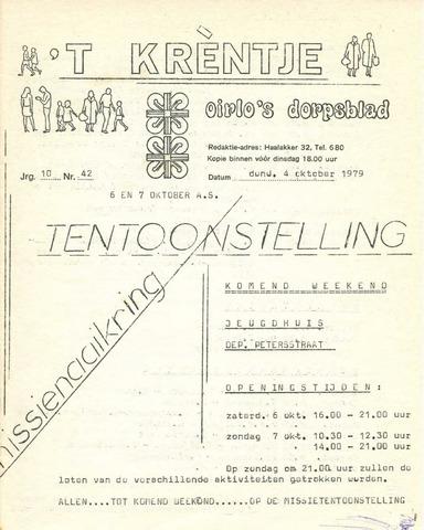 Oirlo's dorpsblad 't Krèntje 1979-10-04