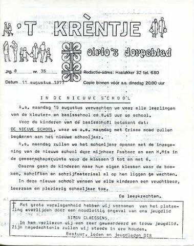 Oirlo's dorpsblad 't Krèntje 1977-08-11