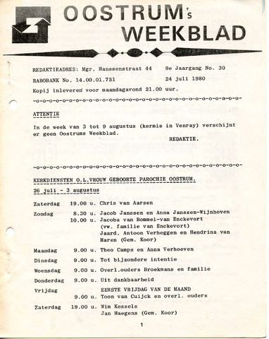 Oostrum's Weekblad 1980-07-24