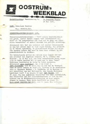 Oostrum's Weekblad 1974-05-24