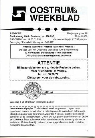 Oostrum's Weekblad 2000-06-29