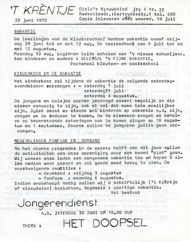 Oirlo's dorpsblad 't Krèntje 1973-06-29