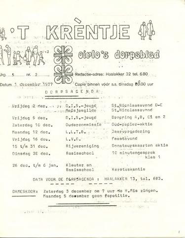 Oirlo's dorpsblad 't Krèntje 1977-12-01