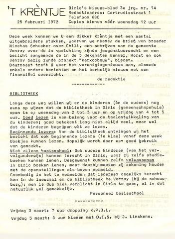 Oirlo's dorpsblad 't Krèntje 1972-02-25