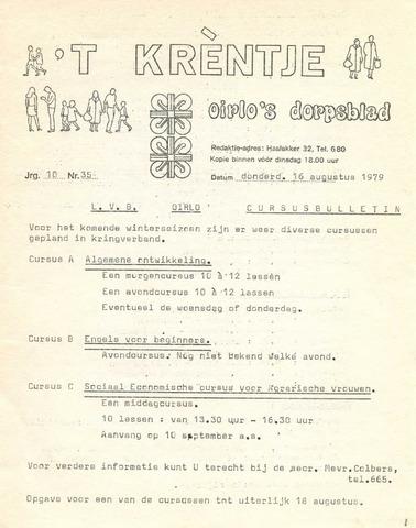 Oirlo's dorpsblad 't Krèntje 1979-08-16