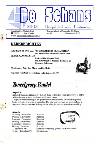 Castenrays dorpsblad De Schans 2003-11-05