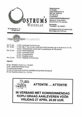 Oostrum's Weekblad 2007-04-19
