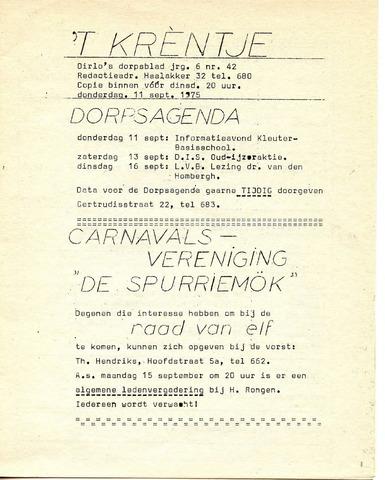 Oirlo's dorpsblad 't Krèntje 1975-09-11