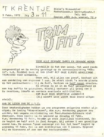 Oirlo's dorpsblad 't Krèntje 1972-02-03