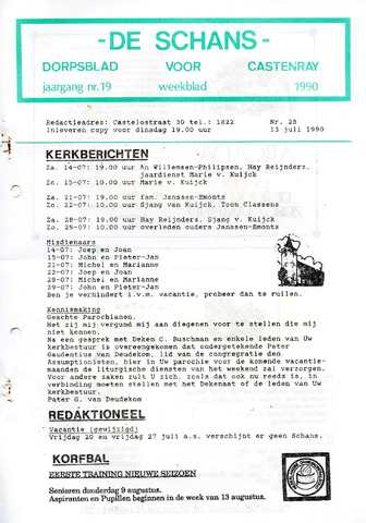 Castenrays dorpsblad De Schans 1990-07-13
