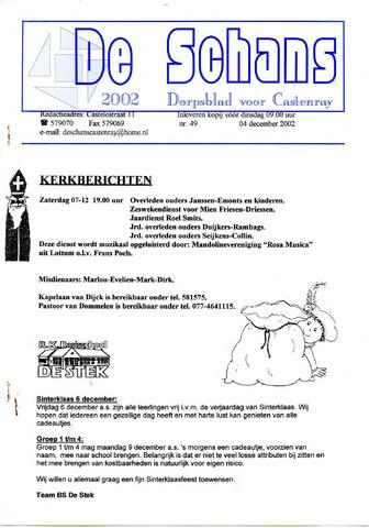 Castenrays dorpsblad De Schans 2002-12-04