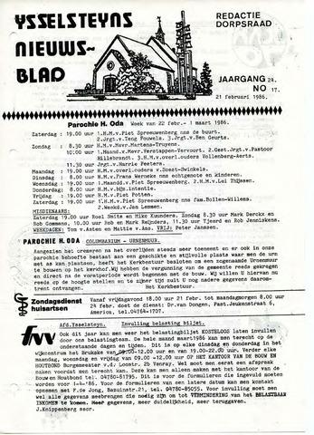 Ysselsteyns Nieuwsblad 1986-02-21