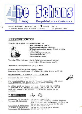 Castenrays dorpsblad De Schans 1997-01-30