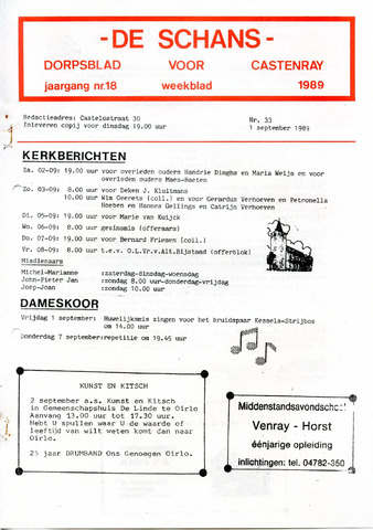 Castenrays dorpsblad De Schans 1989-09-01