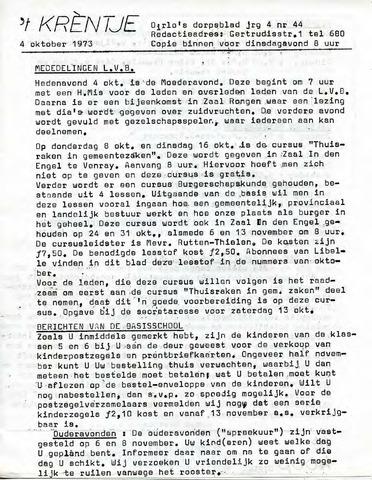 Oirlo's dorpsblad 't Krèntje 1973-10-04