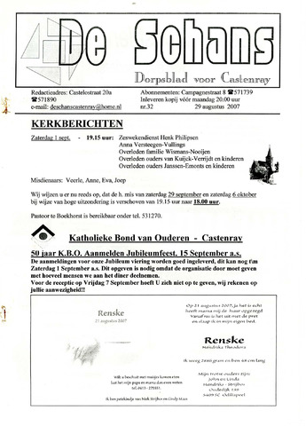 Castenrays dorpsblad De Schans 2007-08-29