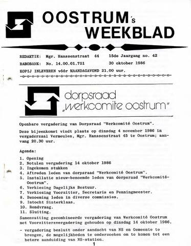 Oostrum's Weekblad 1986-10-30