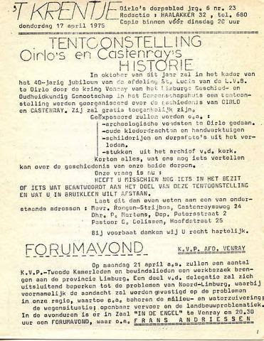 Oirlo's dorpsblad 't Krèntje 1975-04-17