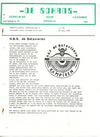 Castenrays dorpsblad De Schans 1981-08-15