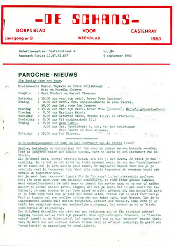 Castenrays dorpsblad De Schans 1980-09-05