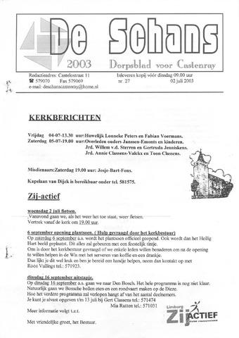 Castenrays dorpsblad De Schans 2003-07-02
