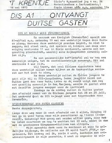 Oirlo's dorpsblad 't Krèntje 1973-05-18