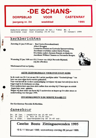 Castenrays dorpsblad De Schans 1995-01-20