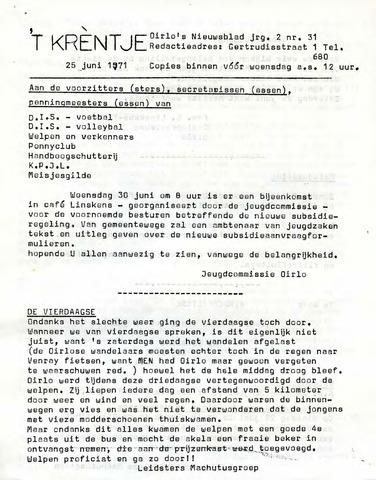 Oirlo's dorpsblad 't Krèntje 1971-06-25