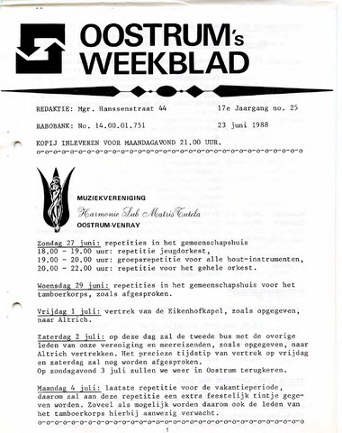 Oostrum's Weekblad 1988-06-23