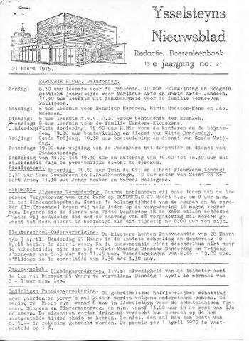 Ysselsteyns Nieuwsblad 1975-03-21