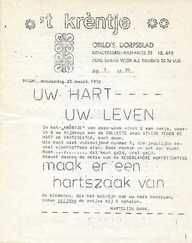 Oirlo's dorpsblad 't Krèntje 1976-03-25
