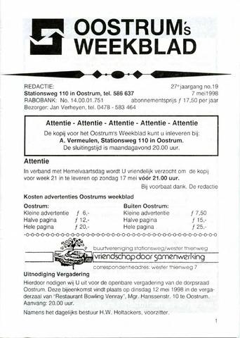 Oostrum's Weekblad 1998-05-07