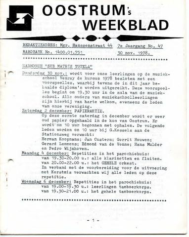 Oostrum's Weekblad 1978-11-30