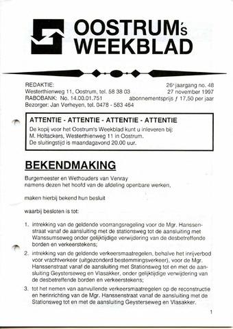 Oostrum's Weekblad 1997-11-27