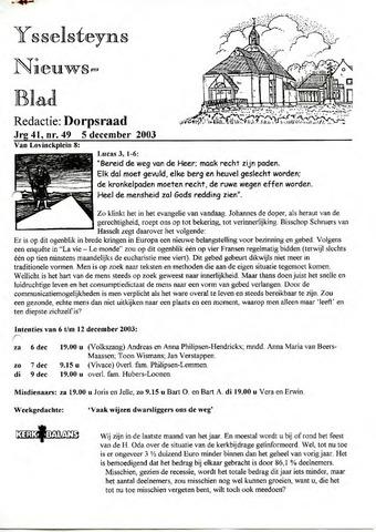 Ysselsteyns Nieuwsblad 2003-12-05