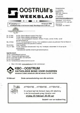 Oostrum's Weekblad 2004-02-19