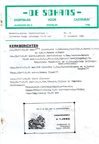 Castenrays dorpsblad De Schans 1986-11-21