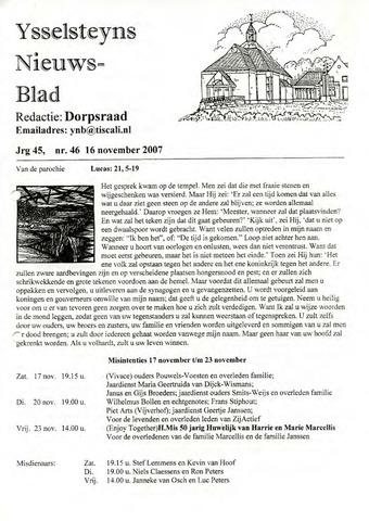 Ysselsteyns Nieuwsblad 2007-11-16