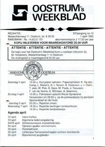 Oostrum's Weekblad 1993-04-01