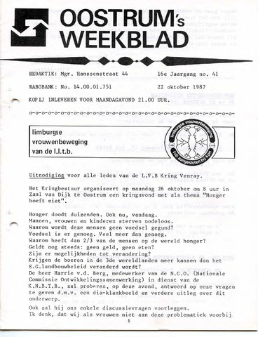 Oostrum's Weekblad 1987-10-22