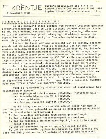 Oirlo's dorpsblad 't Krèntje 1972-11-03