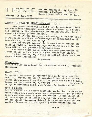 Oirlo's dorpsblad 't Krèntje 1975-06-26
