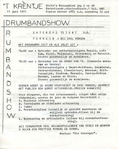 Oirlo's dorpsblad 't Krèntje 1971-06-11