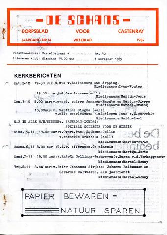 Castenrays dorpsblad De Schans 1985-11-01